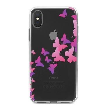 Lopard iPhone Xs Max Kılıf Silikon Arka Koruma Kapak Kelebek Siluetleri Desenli Renkli